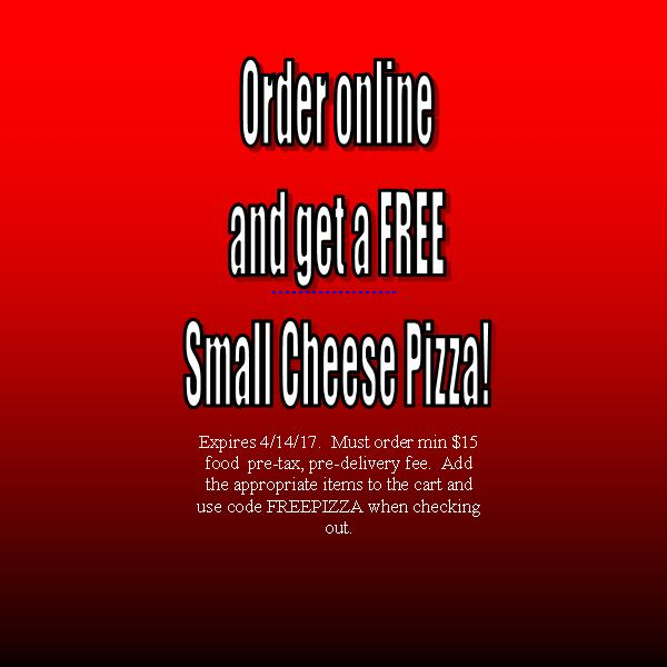 Free Small Cheese Pizza